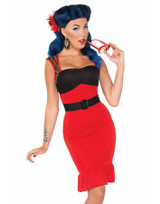 Retro Rock Scarlet Rose Rockabilly Pin-Up Girl Womens Fancy Dress Costume M/L