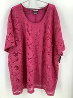 Catherine's Women 5X Blouse Floral Lace Front Pink Short Sleeves Round Neck