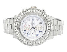 Custom Mens Breitling A13370 Super Avenger XL 53MM S.Steel with Diamonds 20 Ct