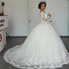 Long Sleeve Wedding Dresses Off Shoulder Ball Bridal Gowns Appliques White Ivory