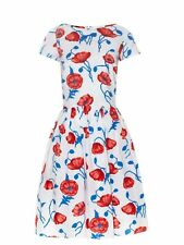 OSCAR DE LA RENTA NWT $1490 Red Blue Floral Pleated A-Line Dress Size 14