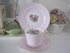 VINTAGE VICTORIA C & E CARTWRIGHT & EDWARDS PINK FLORAL FINE BONE CHINA TRIO