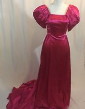 VTG 80s Hot Pink Prom Dress Off Shoulder Satin Bow Gown Party Full Length Train