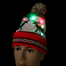 Women Men LED Light Flashing Beanie Cap Christmas Hat Reindeer Hat Twinkling