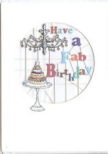 PRETTY DIE-CUT BIRTHDAY CARD WITH CAKE AND CHANDELIER COLOURFUL WRITING (FEMALE)