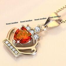 Black Friday Geschenke für Sie Rot Kristall Herz Halskette Silber Weihnachten