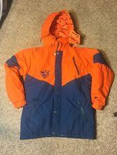 Vtg Chicago Bears Triple FAT Goose Down Coat Jacket Large Orange Blue NFL Parka