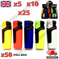 Prof Jet Flame Lighter Big Tank Safety Cap Electronic Gas Refillable Brand New