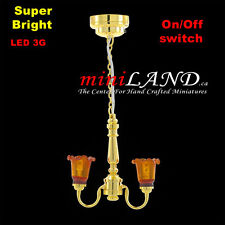 Battery operated LED LAMP Dollhouse miniature light chandelier 2arm on/off switc