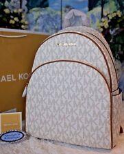 NWT MICHAEL KORS ABBEY LARGE Backpack MK Sig. VANILLA/ACORN PVC/Leather $398
