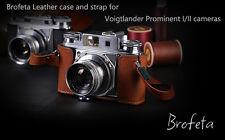 Brofeta leather case/bag and strap for Voigtlander Prominent I Ii film cameras