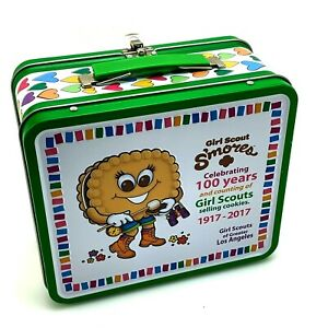 Girl Scout S'mores Metal Lunch Box Tin | Celebrating 100 Years Selling Cookies