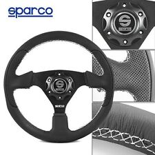 320mm Sparco Genuine Calf Leather Sport Racing Steering Wheel w/ Horn Button