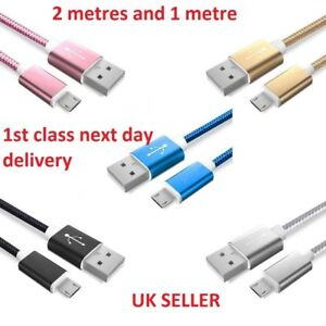 1M & 2M Long Micro USB Data Sync Charger Cable Lead For Samsung Android Phones