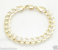 8.2mm Mens Solid Curb Cuban Link Chain Bracelet Real 10K Yellow Gold 12.5gr