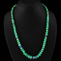 246.35 CTS EARTH MINED RICH GREEN EMERALD ROUND FACETED BEADS NECKLACE STRAND