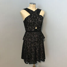 BCBG MAXAZRIA ~ $338 Black Lace Peplum TARA DRESS Cocktail Party Sz 0 NWT