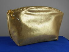 Bare Minerals Gold Lame' Sparkle Zip Top Dome Cosmetic Makeup Bag Skeleton Key