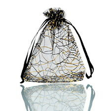 25PCs 9.5x11cm Premium Black Gold Web Organza Gift Bags Wedding/Christmas Favor