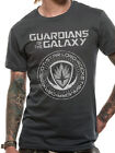 Guardians of the Galaxy Crest Groot Rocket Starlord Official Grey Mens T-shirt