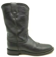 Justin Black Leather Classic Cowboy Western Roper Boots Shoes Women's 6 B