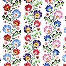 Folk Flowers in lines 100% Cotton Fabric. Price per 1/2 meter