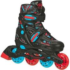 Roller Derby Shift Boys Adjustable Inline Skates-Size 3-6 Black/Red/Turquoise