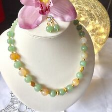 Handmade Genuine Gemstone Jewellery, Aventurine & agate necklace & free earrings