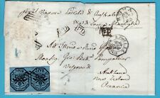 ITALY cover 1865 Rome and Marseille transit to New Zealand (stamps part removed)
