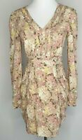 Orchily Fit & Flare Beige Boho Cottagecore Office Party Dress / Size 8-10