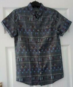 boys fab grey tribal pattern short sleeve shirt age 12