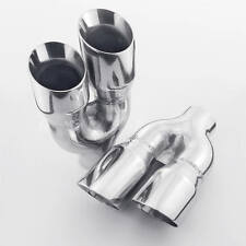 """Pair Quad 3"""" Out Exhaust Tips 2.25"""" In Staggered Stainless Dual Wall Angle Cut"""