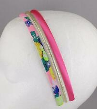 3 headbands Pink floral thin skinny satin gold sparkly headband hair band