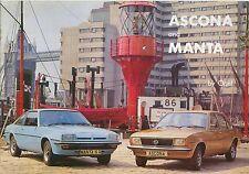 Opel Ascona B & Manta B 1976-77 Original UK Sales Brochure Deluxe SR Berlinetta