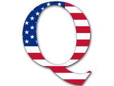 4x4 inch Q Shaped BRIGHT American Flag Sticker  - qanon anon conservative trump