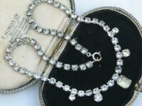 CLASSIC 1950's Vintage prong set DIAMOND CRYSTAL RHINESTONE collar necklace