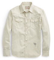 Polo Ralph Lauren Mens Slim Washed RL Western Patchwork Distressed Denim Shirt