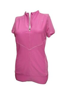 Nike Dri fit Women MEDIUM Athletic Short Sleeve Fitted 1/2 Zip T-shirt(#N5