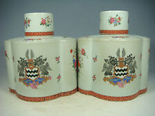 beautiful chinese export armorial famille rose porcelain a pair caddys