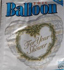 "For Your Shower Foil Balloons 18"" Heart Shape Wedding Shower Bridal Decor x2 New"