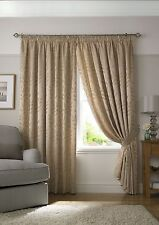 Tivoli Jacquard Leaf  Curtains Pencil Pleat, Lined Curtains,  3 Fab Colours
