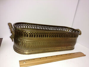 """Vintage Oblong Vented Brass Window Planter Box Tub With Lion Head Handles 15"""""""