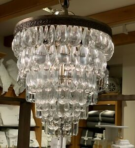 Pottery Barn Clarissa Glass Drop Small Round Crystal Chandelier