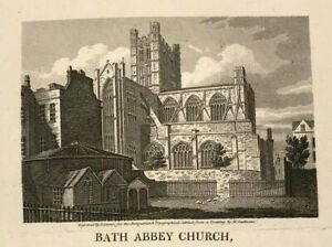 BATH ABBEY CHURCH c1818 Original engraved topographical view, history