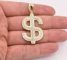 "Pendant Real 10K Yellow White Gold 2 1/4"" Dollar Sign Money Diamond Cut"