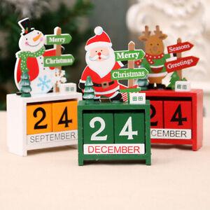 Christmas Themed 2020 Calendar Countdown Painted Blocks Wooden Deer Calendars