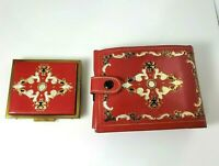 Vintage Daniel Red Leather Mirror Compact Clutch Wallet  Set Fleur de Lis Gold