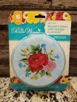 Pioneer Woman Sweet Rose 6 Piece Biscuit Cutters with Storage Container Kit NEW