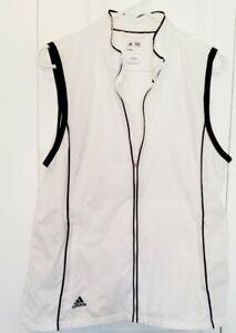 Adidas,Thin Summer, Golf Clima Proof  Women's White Blk.  Full Zip Vest, Large
