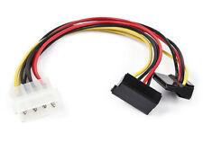 "Monoprice 8"" 4pin MOLEX Male to Two 15pin SATA II Female 90 degree Power Cable"